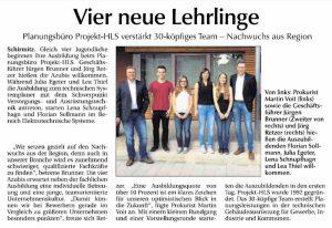 Zeitungsartikel Der neue Tag über Ausbildungsbeginn bei Projekt-HLS