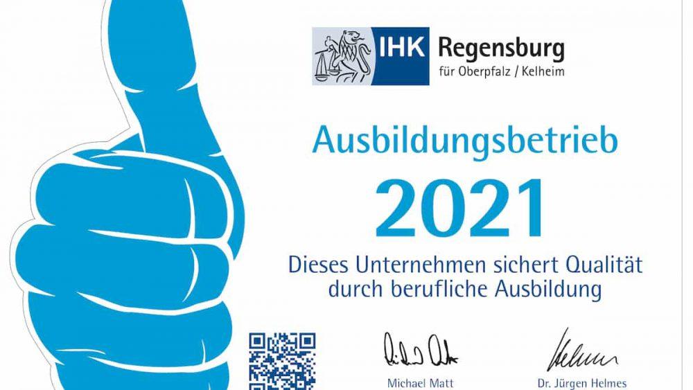 Logo Ausbildungsbetrieb 2020 von der IHK Regensburg