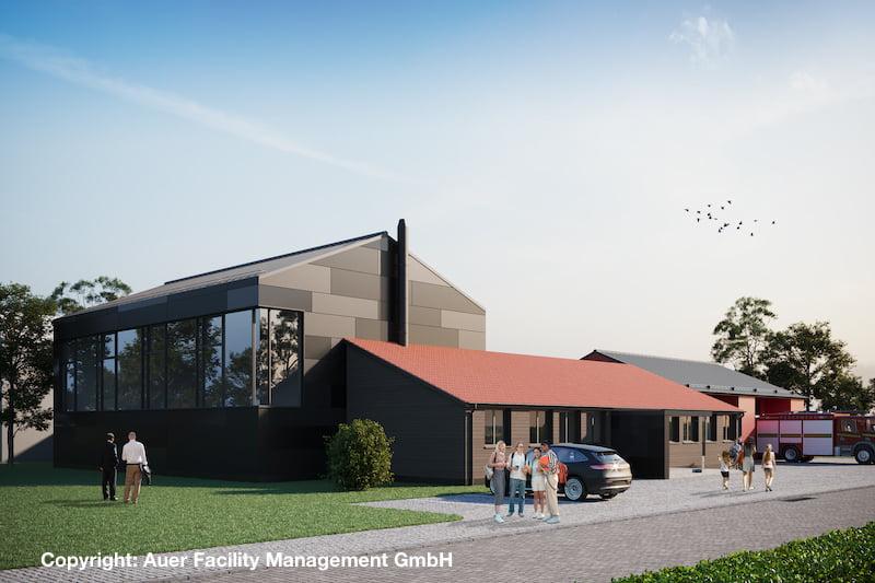 Visualisierung Ansicht der sanierten Sporthalle in Schwarzenbach als Teil eines neuen Mehrgenerationentreffpunkts