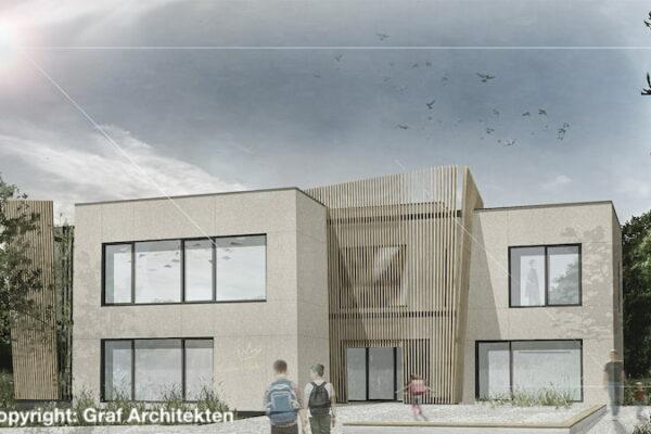 Ansicht Visualisierung Neubau Hort Ezelsdorf