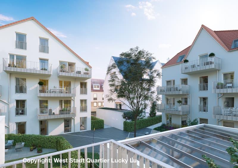 Anischt West Stadt Quartier Ludwigsburg Wohnhäuser zum Innenhof